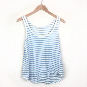 H&M Striped 100% Linen Swing Tank {Blue + White}